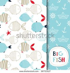 Creative Hand Drawn textures, marine theme design. Set of vector seamless patterns. For birthday, anniversary, party invitations, scrapbooking, T-shirt, cards. Vector illustration. Red, blue and beige