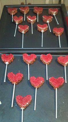 my crispy treat hearts on a stick ~