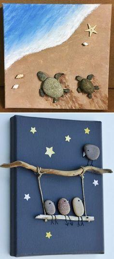Sea Crafts, Diy Home Crafts, Diy Arts And Crafts, Crafts For Kids, Stone Crafts, Rock Crafts, Quilling Paper Craft, Paper Crafts, Glass Bead Crafts