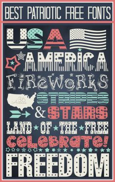 Today I am sharing my favorite 4th of July fonts. These are awesome, they are modern super fun patriotic fonts and the best part is that they are free! OK, all the links to these Free Patriotic Fonts are below. Find the one you like and the link to the download is to the right... Easy! USA: US...