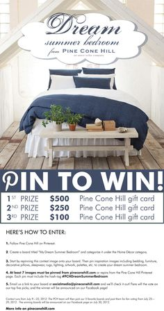 Pin to Win! #PCHDreamSummerBedroom