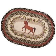 "Braided Horse Rug. Hand-printed trotting bay horse surrounded by leaf and snaffle bit motif. Made from 100% natural jute fiber, which is eco-friendly and biodegradable. Strong and long lasting. It can withstand lifetime in the home or stable. 20"" x 30"""