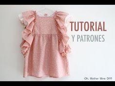 FREE ruffle dress pattern (in Spanish) Baby Clothes Patterns, Sewing Patterns For Kids, Sewing For Kids, Clothing Patterns, Kids Clothing, Baby Sewing Tutorials, Dress Tutorials, Toddler Dress, Baby Dress