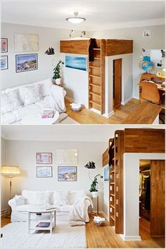 If a Walk-in-Closet is Your Dream Even in a Small Space then Loft Your Bed, Fulfill Your Dream 10 Ingenious Ideas for Small Space Interiors 109 Loft Closet, Bed In Closet, Closet Office, Entry Closet, Small Apartments, Small Spaces, Cool Loft Beds, Mezzanine Bedroom, My Ideal Home