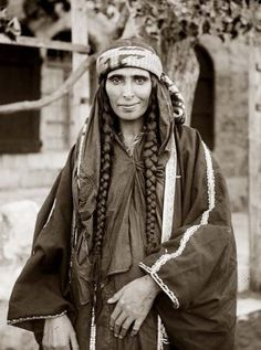 Bedouin woman wearing embroidered coat.  ca. 1898-1914. (Jordan) | Photographer unknown { Matson Collection}