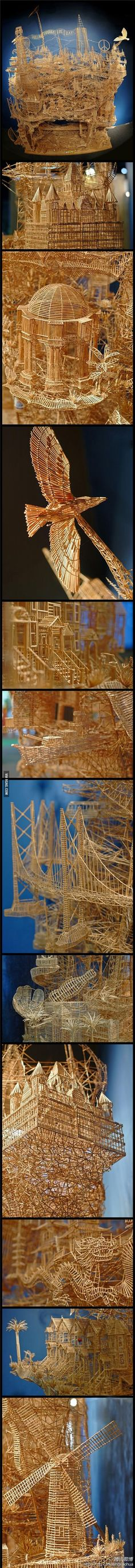 City made by toothpick