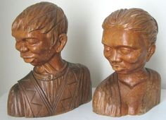 Rare #Vintage Set J Jose #Pinal #WoodCarving #Headbust by FlyingWizard on Etsy