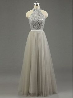 Halter Prom Dress,A-Line Prom Dress,Two Pieces Prom Dress,Evening Dress
