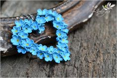 Beautiful blue pendant from polymer clay - Forget-me-not by Zubiju