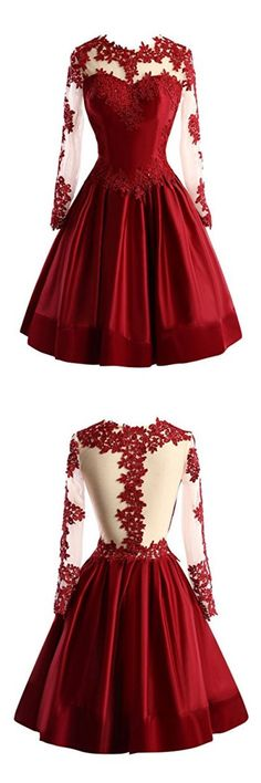 chic scoop long sleeves homecoming dresses, cheap fashion party dresses with appliques, elegant semi formal dresses, short prom gowns.