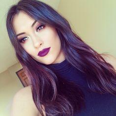 Purple Lips. Makeup. Plum Eyeshadow