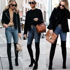 Classy outfit idea to copy ♥ For more inspiration join our group Amazing Things ♥ You might also like these related products: - Jeans ->. Thigh High Boots Outfit, Over The Knee Boot Outfit, Black Otk Boots Outfits, Long Boots Outfit, Black Sweater Outfit, Boot Outfits, Black Boots, Jeans And Boots, Winter Fashion Outfits