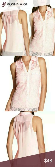 Guess Pink Delilah Top Size S The lace-detailed front and sheer back add just the right amount of sexy to this sleeveless button down. Wear with skinny jeans and this season?s hottest booties for a look that?s instantly weekend-ready.  Pointed collar. Sleeveless. Relaxed fit. All-over floral lace front. Sheer back. Two buttoned front patch pockets. Front button closures 100% Polyester Hand wash *Labels slit to prevent store returns* Guess Tops