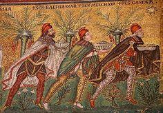 Drie Wijzen. Byzantijns. Begin 6de eeuw. Mozaïek. Ravenna.