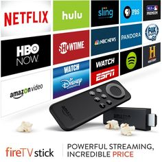 Fire TV Stick connects to your TV's HDMI port. It's an easy way to enjoy over 4,000 channels, apps, and games including access to over 250,000 TV episodes and movies on Netflix, Amazon Video, HBO NOW, Hulu, and more. Cutting the cord? Watch the best of live TV on NBC News, NBA, and Sling TV, which includes ESPN, CNN, HGTV, AMC, A&E, Cartoon Network, and more. (affiliate)