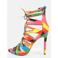 Rainbow Open Toe Lace Up Heels RAINBOW MULTI ($40) ❤ liked on Polyvore featuring shoes, rainbow multi, caged shoes, laced up shoes, rainbow footwear, stiletto high heel shoes and heels stilettos