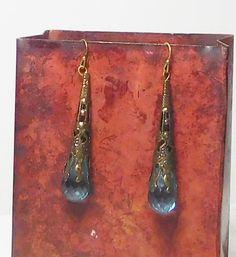 Victorian Steampunk Earrings Brass Filigree Flute by LandofBridget