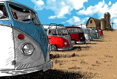 Hey, I found this really awesome Etsy listing at https://www.etsy.com/listing/183099155/vw-camper-van-in-on-canvas-multiple