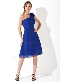 A-Line/Princess One-Shoulder Knee-Length Chiffon Bridesmaid Dress With Ruffle Flower(s) (007021111) - JJsHouse