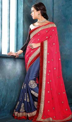 Throw a spin to your overall looks draped in this navy blue and pink embroidered chiffon georgette half n half sari. You can see some intriguing patterns performed with floral patch, lace and resham work. #FantasticRosyRedHalfAndHalfSari