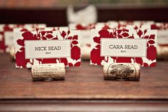 Easy DIY placecards - cork, placecards, exacto knife, credit card, glue gun, flat object like a button.