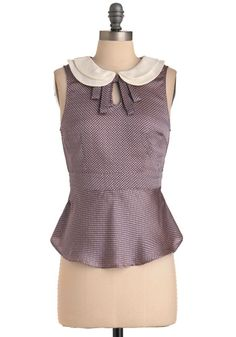 Academic Achievement Top - Mid-length, White, Peter Pan Collar, Sleeveless, Work, Vintage Inspired, Blue, Pink, Houndstooth, 60s