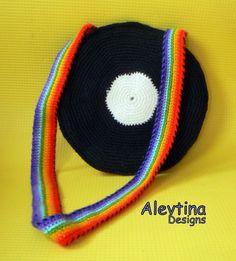 Unique hand-crocheted vinyl record bag