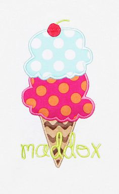 Boutique Personalized Ice Cream Cone Shirt by bowdaciousbaby, $18.00