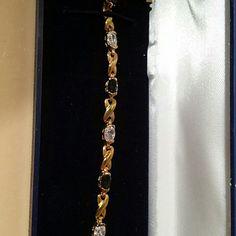 "New 7"" Bracelet (Navy stones) New never used Costume jewelry. Gold , Blue & Diamonds 7"" bracelet. Jewelry Bracelets"