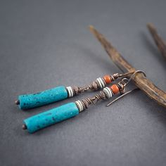 rustic earrings • tribal earrings • primitive • elongated earrings • Moroccan terracotta • shell • raw • turquoise clay • gipsy • hand made by entre2et7 on Etsy