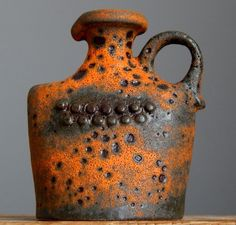RAREST Vintage 60-70 s U KERAMIK Fat Lava Robot Vase German Pottery Space Age