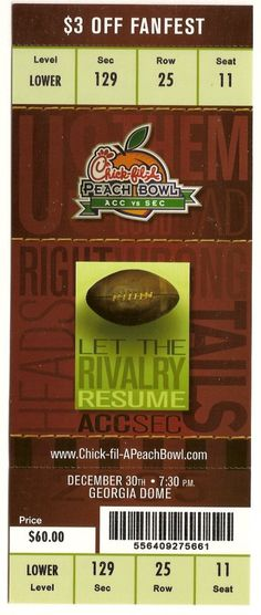 2005 Peach Bowl Chic Fil A Ticket Full Miami LSU....if you like this you can find many more college bowl game tickets for sale at.....www.everythingcollectibles.biz