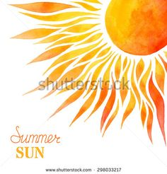 Watercolor summer sun background. Bright hand-painted sun in right corner on…