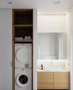 arredare-bagno-stretto-lungo-lavatrice-8 White Bathroom Cabinets, Modern Bathroom Tile, Boho Bathroom, Minimalist Bathroom, Bathroom Styling, Bathroom Interior Design, Modern Minimalist, Small Bathroom, Master Bathroom