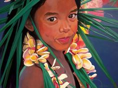 """""""Young Dancer w/ Yellow Hibiscus"""" Limited Edition Giclee on Canvas by Suzy Papanikolas at Maui Hands"""