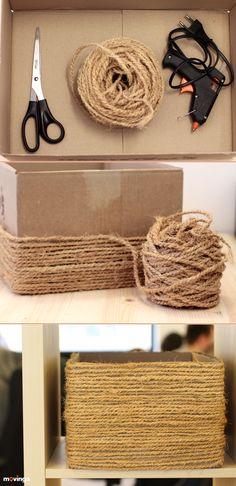 DIY - Korb aus Karton selber machen. Einfach Anleitung, wie du in wenigen Schritten dekorative Körbe aus alten Boxen selber machen kannst!