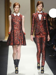 Love the dress, love the jacket.  I could live without the bowtie and tapestry pants, though.