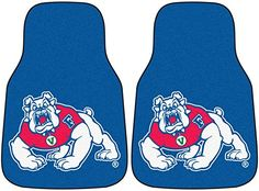Fanmats Fresno State Bulldogs Carpeted Car Mats  http://allstarsportsfan.com/product/fanmats-fresno-state-bulldogs-carpeted-car-mats/  Two carpeted car mats 100% nylon face with non-skid vinyl backing Team colors and logo adorn each mat