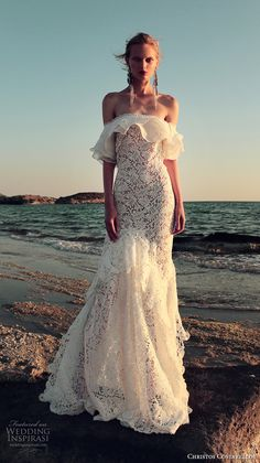 christos costarellos fall 2017 bridal off the shoulder full embellishment lace embroidered romantic lace mermaid wedding dress sweep train (24) mv