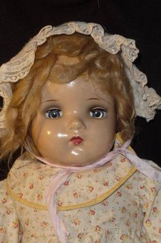 LARGE VINTAGE MADAME ALEXANDER COMPOSITION MAMA BABY DOLL BABY GENIUS MCGUFFEY