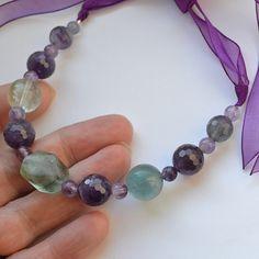 Beaded Natural Stone Purple Organza Ribbon Tie Bib by GlitzyGecko