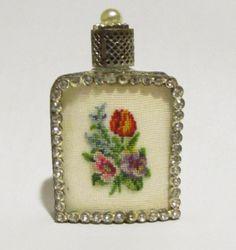 Vintage Austrian Petit Point Needlepoint Miniature Perfume Bottle Austria