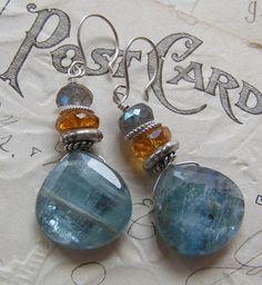 Chambray Blues/Russian Kyanite, Mandarin Garnets, Labradorite | miabellacollection-jewelry - Jewelry on ArtFire