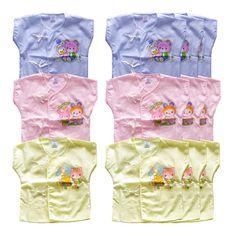 Baby heart เสื้อเด็กแรกเกิดผูกหน้า ผ้าป่าน (แพ็ค 12 ตัว)