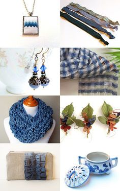 Gifts for you in shades of Blue w/my Woven Scarf #giftguide #aclhandweaver #artisanstyle #artfulliving