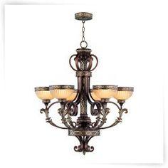Livex Seville 8526-64 6-Light Gaslight Chandelier 35H in. - Palacial Bronze