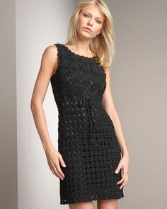 CROCHET FASHION TRENDS - exclusive black crochet cocktail dress - made to order