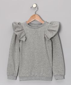 Gray Ruffle Sweatshirt from #TheBrand on #zulily