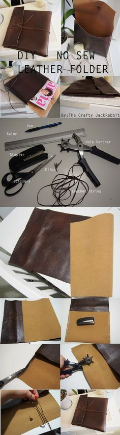DIY: No Sew Leather Folder. Click for detailed instructions