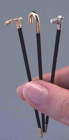1:12th scale miniature ebony walking sticks from Fairy Meadow Miniatures